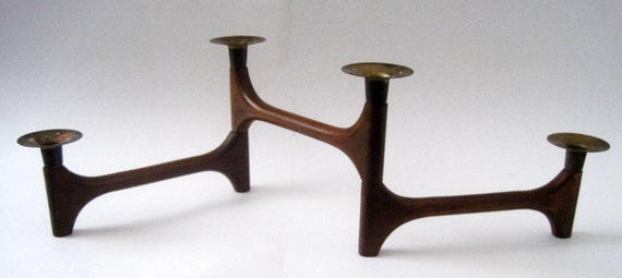 Mid Century Danish Modern Teak Jointed Candle Holder
