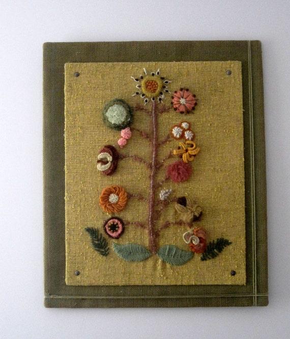 Vintage Retro Yarn Wall Art Flowered Tree