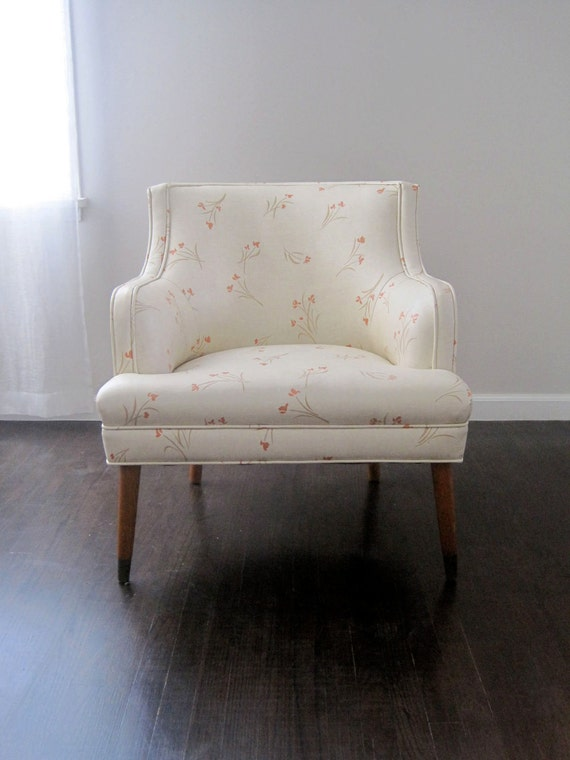 Vintage Mid Century Lounge Chair Vinyl Cherry Blossom Upholstery 1950s