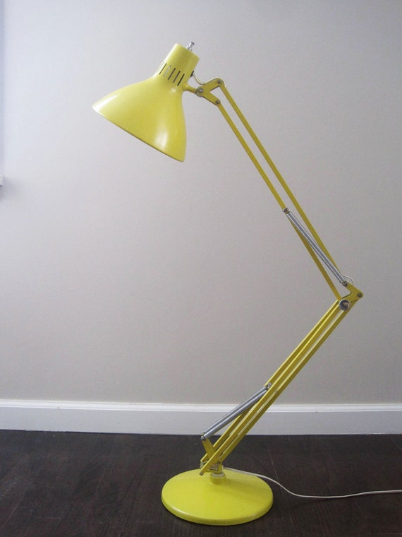 Mid Century Luxo Industrial Modern Yellow Swing Arm Floor Lamp