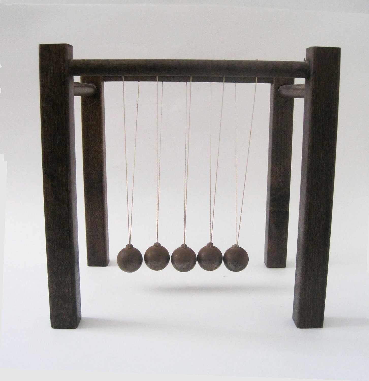 Vintage Newtons Cradle Swinging Ball Sculpture Home by rhanvintage