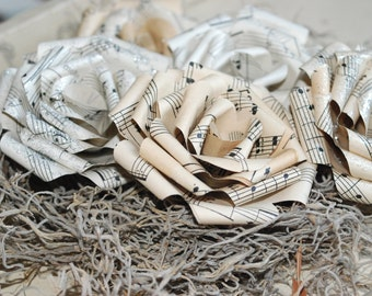 6 vintage sheet music paper flowers -3 inch