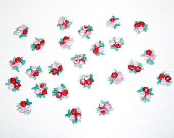 red and pink flower appliques