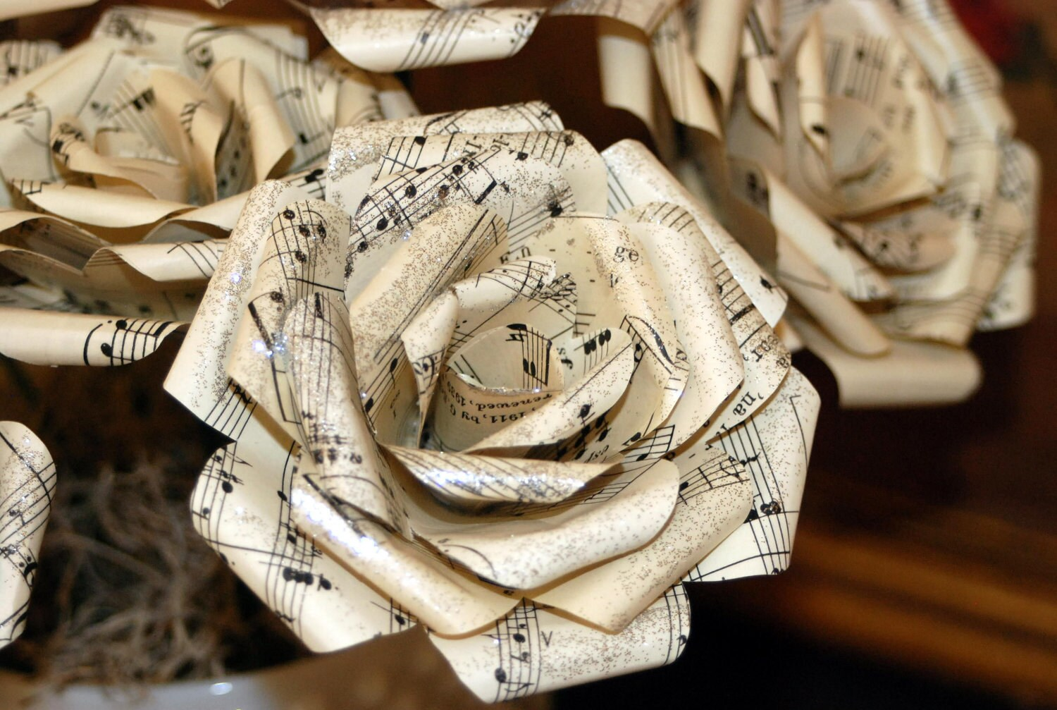 paper flowers made from vintage sheet music 4 inch