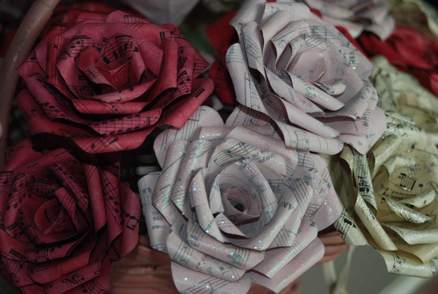 Pink And Red Hand Painted Paper Flowers Made From Vintage