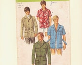 Vintage Safari Hawaiian Mens Shirt Pattern Miami Vice 1970 with Self Belt Size 40 Simplicity 8823  Belted