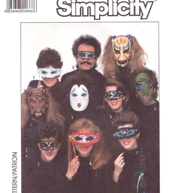 Mask Costume Pattern Felt  Iron On Transfer Vintage Simplicity 8289 Halloween Mardi Gras Carnival