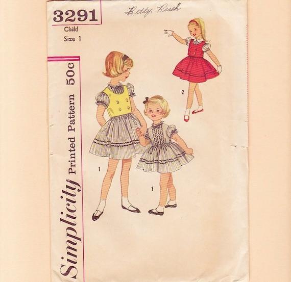 1950s Vintage Dress Pattern Children Size 1 Baby Girl Toddler