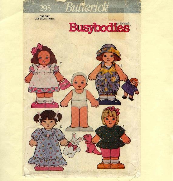 Flat Doll Pattern Velcro Clothes Butterick 295 Uncut