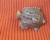 Vintage Solid Sterling Silver Brooch - Red Eye Fish - Ready to Wear