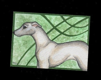 greyhound watercolor aceo
