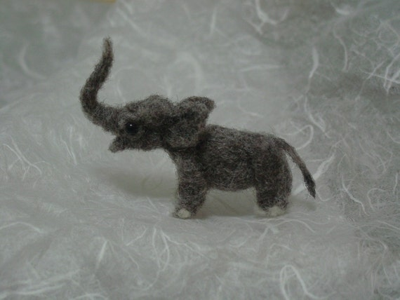Tiny needle felted elephant