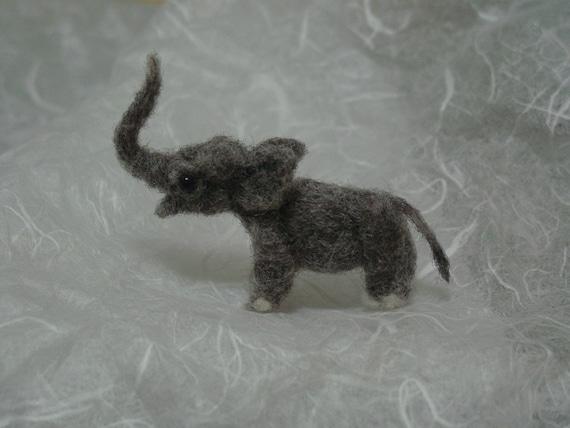 Tiny needle felted elephant