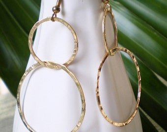 Hammered Double Hoops in Nu Gold