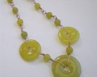 Olive JadeDonut Necklace