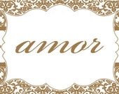 50 Water Bottle Labels - AMOR - Custom Listing for Stephanie M (sjmartin885)