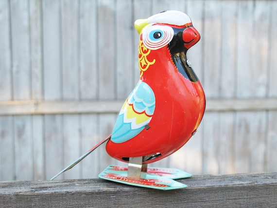 Vintage Parrot Tin Wind-up Toy