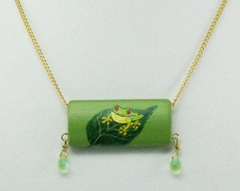 Frog on a Leaf Painted Necklace, Original Wood Pendant Handpainted