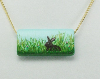 Rabbit in Meadow Necklace, Hand painted Wood Pendant