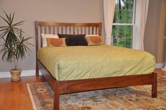 Arcus Queen Size Natural Walnut Bed-Modern