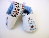 Classic Vegan Little Pet Fishy All Fabric Soft Sole Baby Shoes / Made to Order / Babies  FIB Heather Ross Godlfish Blue Boy