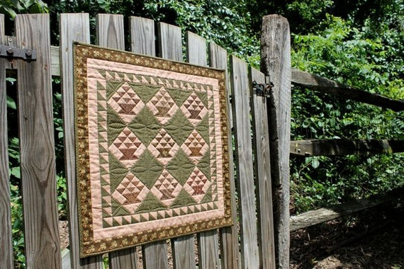 Patchwork Basket Quilted Wall Hanging