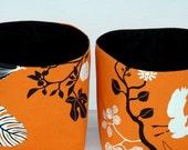 Orange and black cotton fabric organizer - Birds in the trees