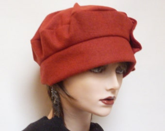 SALE - Rust Red Wool Cloche Hat