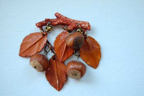1930s Celluloid real acorn pin brooch