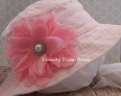 Baby Girl Pink Infant Sunhat with Beautiful Pink Vintage Lace Flower