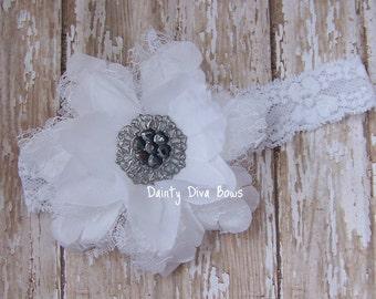 Angelic White Vintage Lace Flower on Skinny Lace Headband, Baptism, Christening, Baby Headband, Newborn Headband, Photo Prop, Baby Gift