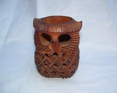 vintage wooden teak owl tealight holder