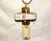recycled cross necklace ruler ballchain man