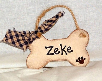 Christmas ornament dog bone canine personalized with date