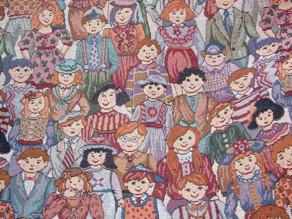 Children of the world tapestry fabric upholstry for Childrens material