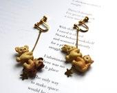 stuffed animal vintage earrings