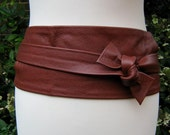 Cognac brown leather obi wrap belt