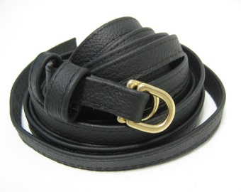 Black leather tassel belt skinny triple wrap