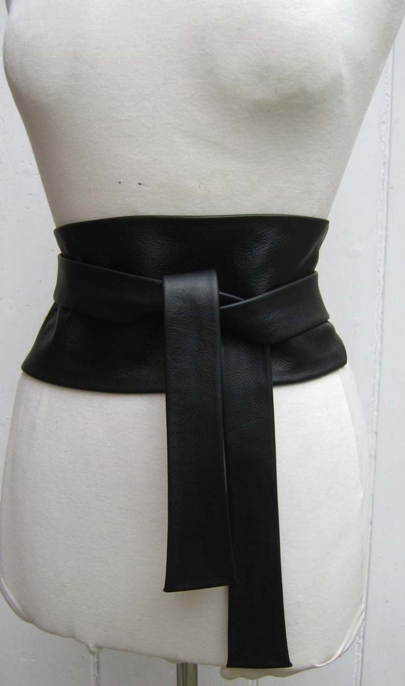 Black leather obi cinch corset style wrap belt