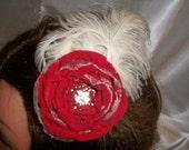 Red Chiffon Singed Flower