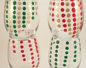 Polka dots in holiday colors, red, gold, green, and white - Christmas stemless wine glasses - set of 4 hand painted glassware