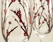Fall wedding hand painted champagne flutes, custom toasting flutes - set of 2