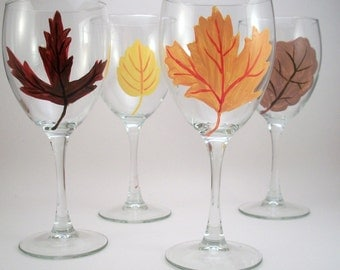 Fall leaves, hand painted wine glasses, Fall table setting, painted glassware with Fall leaves, set of 4
