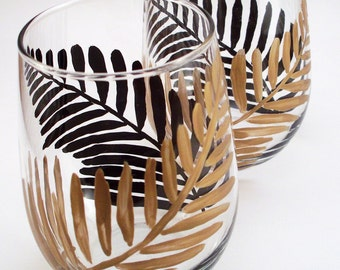 Hand painted stemless wine glasses, black and gold ferns - set of 2