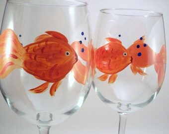 Goldfish hand painted wine glasses, painted glassware, fish glasses, orange goldfish, Set of 2