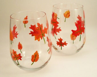 Hand painted stemless wine glasses, Falling leaves, Autumn glassware, painted glasses, set of 2