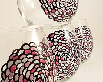 Mum flowers in black white and pink, stemless hand painted wine glasses, unique glassware, painted glasses, set of 4