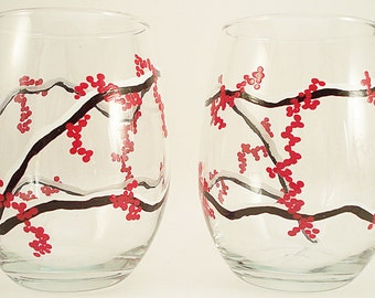 Red berries, winter berries - stemless hand painted wine glasses, holiday glassware with red winter berries, set of 2