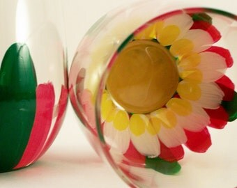 Lotus flowers - hand painted stemless wine glasses - painted lotus flower glassware - set of 2
