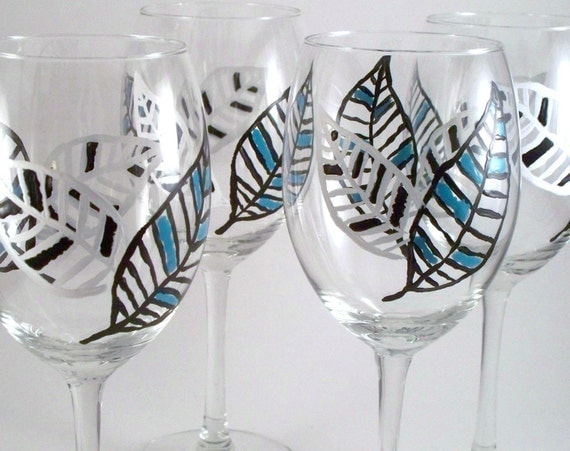 Hand painted wine glasses - black and white and teal modern leaves - set of 4